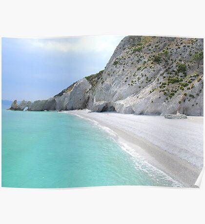 Lalaria Arch and Limestone Cliffs - Skiathos Island, Greece Poster