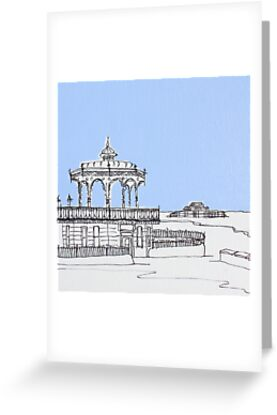 Brighton Bandstand & Pier ( Pale Blue ) by Adam Regester
