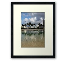 Tropical Vacation - Swaying palms and Crystal Clear Water Framed Print