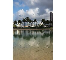 Tropical Vacation - Swaying palms and Crystal Clear Water Photographic Print