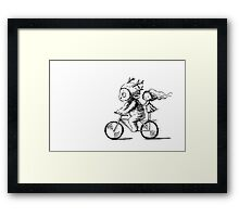 Girl and a monster on a bike Framed Print