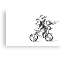 Girl and a monster on a bike Canvas Print
