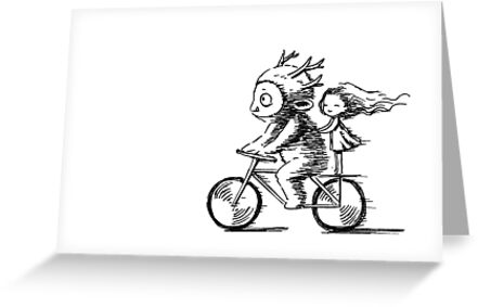 Girl and a monster on a bike by freeminds