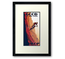 retro style mountain bike poster: Good to the Last Drop Framed Print