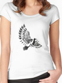 Raven Crow Shaman tribal tattoo design Women's Fitted Scoop T-Shirt