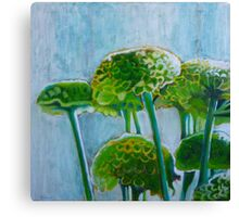 Green mums, mixed media on canvas Canvas Print