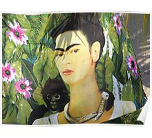Drapery with Frida Kahlo Painting - Tela con Imagen de Frida Kahlo Poster