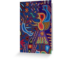 Huichol Art: Yarn glewed on a wooden Panel; Hilo pegado en una Placa de Madera Greeting Card