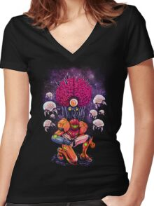 Mother Brain Women's Fitted V-Neck T-Shirt