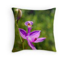Grass Pink Orchid Throw Pillow