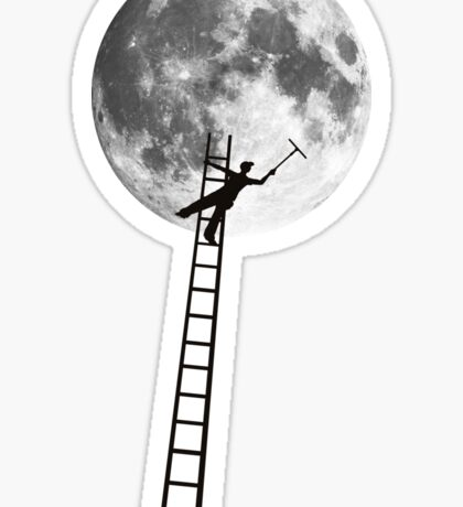MOONSHINE black and white illustration and silhouette Sticker