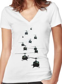 Huey Helicopters Women's Fitted V-Neck T-Shirt