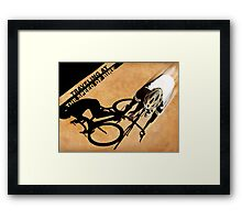 Traveling at the speed of bike retro illustration Framed Print