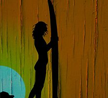 Surfer Girl Silhouette  by Ian Jeffrey