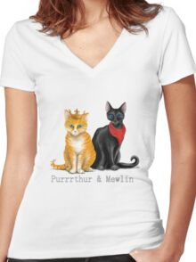 Purrrthur & Mewlin Women's Fitted V-Neck T-Shirt