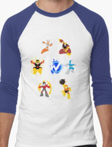 Robot Masters of Mega Man 1 Splatter Art Men's Baseball ¾ T-Shirt