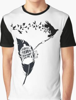 Vintage print with Edgar Alan Poe Poem and Raven Silhouette: Break Free  Graphic T-Shirt
