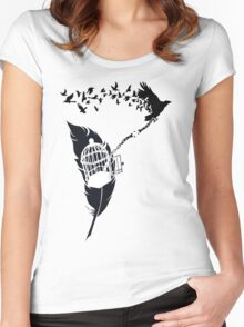 Vintage print with Edgar Alan Poe Poem and Raven Silhouette: Break Free  Women's Fitted Scoop T-Shirt