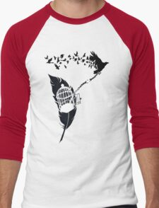 Vintage print with Edgar Alan Poe Poem and Raven Silhouette: Break Free  Men's Baseball ¾ T-Shirt