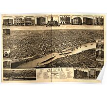 Panoramic Maps St Paul Minnesota 1883state capital and county seat of Ramsey Co Poster