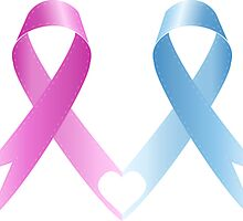 Woman pink breast cancer awareness ribbon and blue ribbon by pashigorov