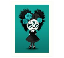 Shy Big Eyes Day of the Dead Girl with Blue Roses Art Print