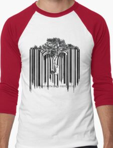 UNZIP THE CODE barcode graffiti print illustration Men's Baseball ¾ T-Shirt
