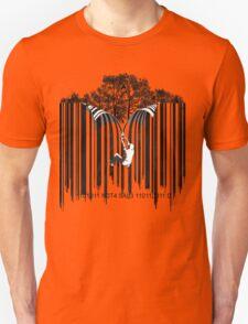 UNZIP THE CODE barcode graffiti print illustration T-Shirt
