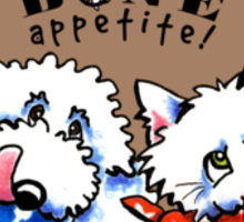 """Dog & Cat """"Bone Appetit!"""" Gourmet Pet Foods Product Stickers {Taupe/Brown} Sticker"""