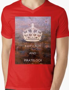 Keep Calm And PirateLock Mens V-Neck T-Shirt