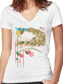 Flying Peacock And Cherry Blossoms Women's Fitted V-Neck T-Shirt