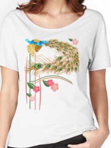 Flying Peacock And Cherry Blossoms Women's Relaxed Fit T-Shirt