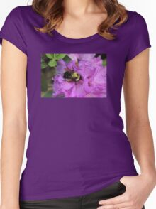 Bumble Bee on Rhododendron Women's Fitted Scoop T-Shirt