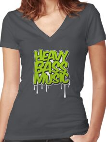 HEAVY BASS MUSIC / TRAP / DUBSTEP / DNB / TECHNO Women's Fitted V-Neck T-Shirt