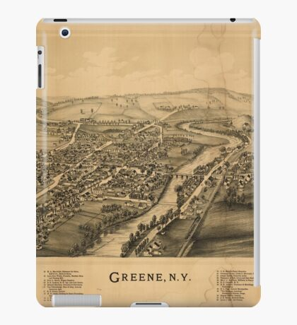 Panoramic Maps Greene NY iPad Case/Skin