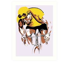The yellow Jersey, the champ, retro style cycling Art Print