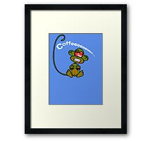 Coffee Monkey - Monday mornings... (On blue) Framed Print