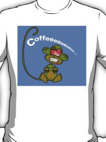 Coffee Monkey - Monday mornings... (On blue) T-Shirt