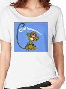 Coffee Monkey - Monday mornings... (On blue) Women's Relaxed Fit T-Shirt