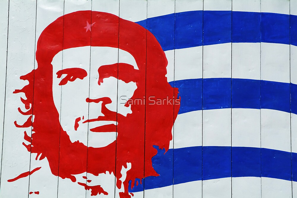 Che Guevara portrait and national Cuban flag by Sami Sarkis