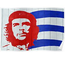 Che Guevara portrait and national Cuban flag Poster