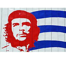 Che Guevara portrait and national Cuban flag Photographic Print