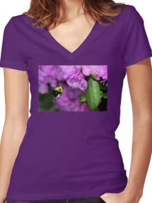 Flying Bumble Bee Collection Pollen Women's Fitted V-Neck T-Shirt