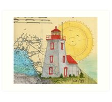 Gereaux Island Lighthouse Ontario Canada Map Peek Art Print