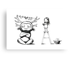Girl and a monster Canvas Print