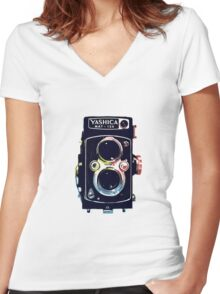 Yashica-Mat 124G Women's Fitted V-Neck T-Shirt