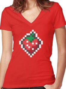strawberry pixels Women's Fitted V-Neck T-Shirt
