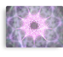 Pink and White Zebra Star Metal Print