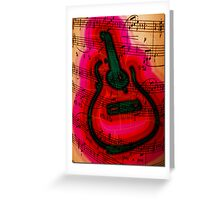 Neon Guitar  Greeting Card