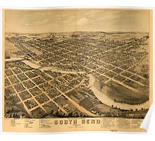 Panoramic Maps South Bend Indiana 1874 Poster